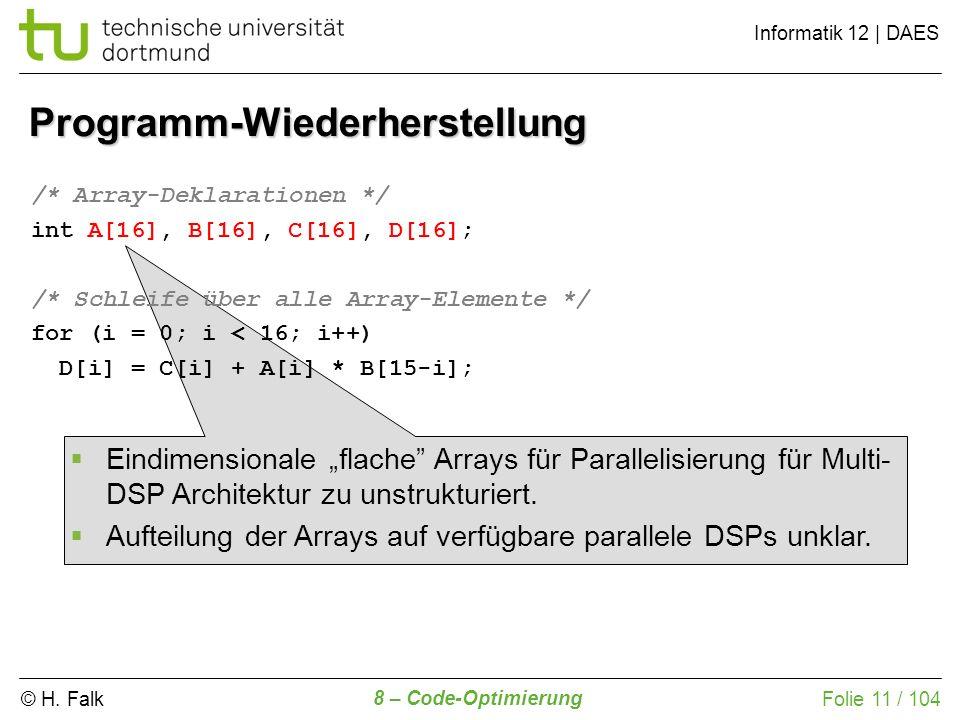 © H. Falk Informatik 12 | DAES 8 – Code-Optimierung Folie 11 / 104 Programm-Wiederherstellung /* Array-Deklarationen */ int A[16], B[16], C[16], D[16]