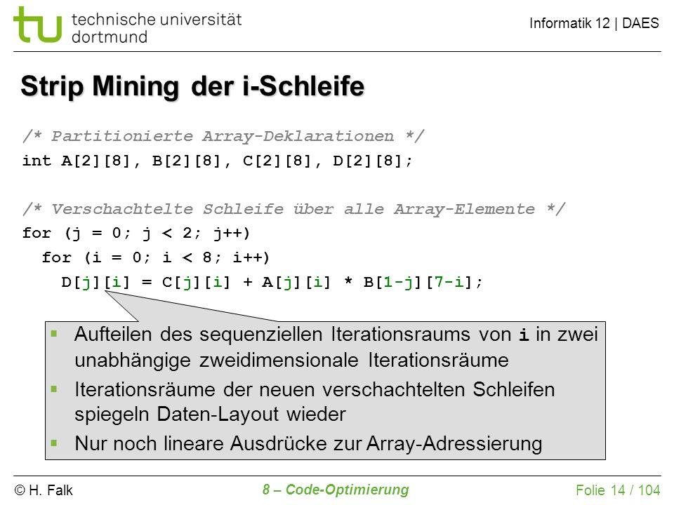 © H. Falk Informatik 12 | DAES 8 – Code-Optimierung Folie 14 / 104 Strip Mining der i-Schleife /* Partitionierte Array-Deklarationen */ int A[2][8], B