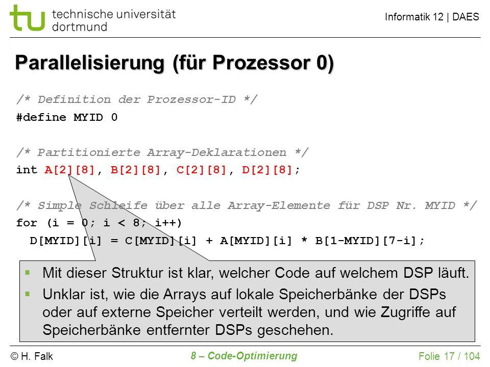 © H. Falk Informatik 12 | DAES 8 – Code-Optimierung Folie 17 / 104 Parallelisierung (für Prozessor 0) /* Definition der Prozessor-ID */ #define MYID 0