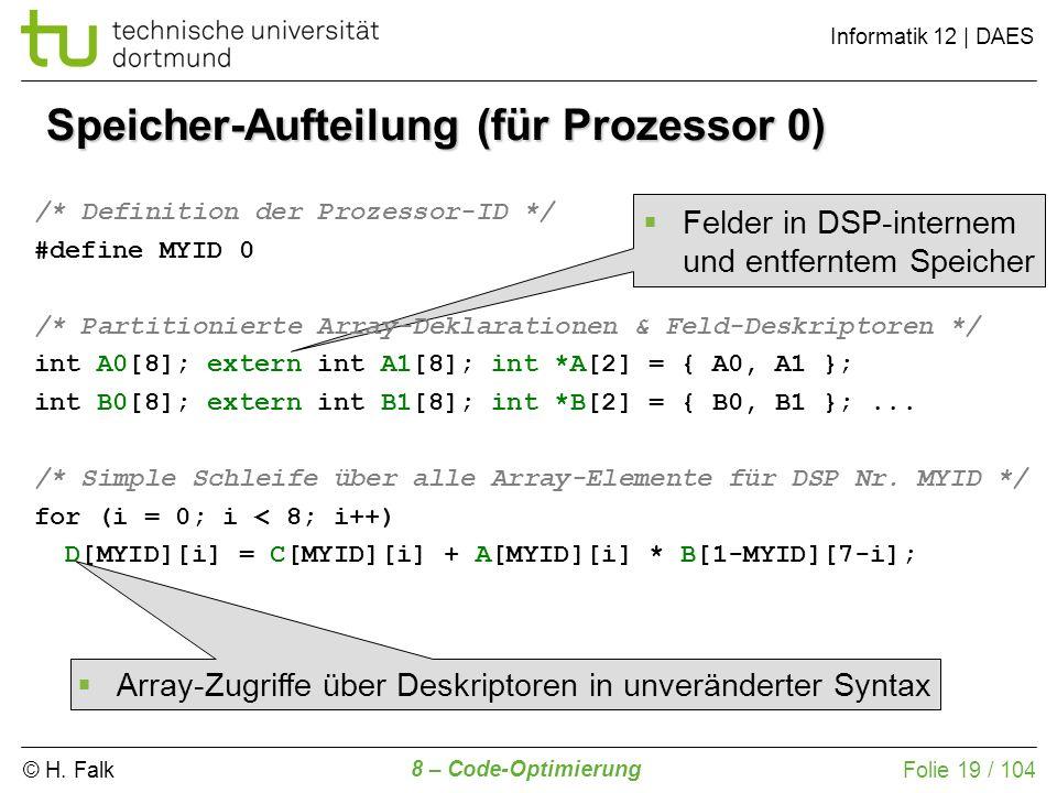 © H. Falk Informatik 12 | DAES 8 – Code-Optimierung Folie 19 / 104 Speicher-Aufteilung (für Prozessor 0) /* Definition der Prozessor-ID */ #define MYI