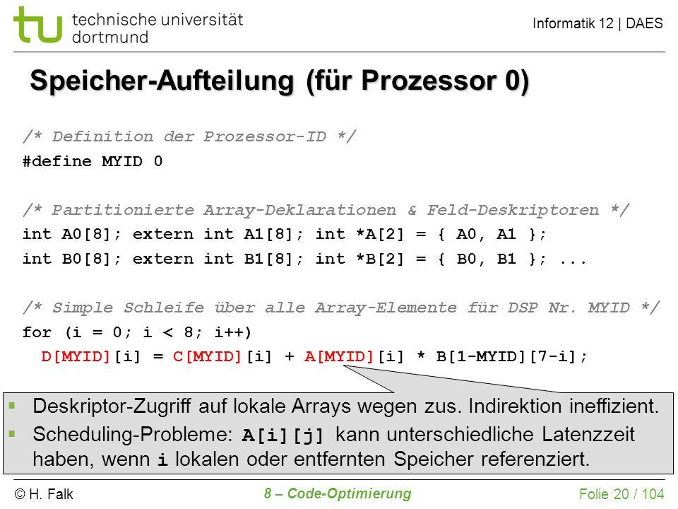 © H. Falk Informatik 12 | DAES 8 – Code-Optimierung Folie 20 / 104 Speicher-Aufteilung (für Prozessor 0) /* Definition der Prozessor-ID */ #define MYI
