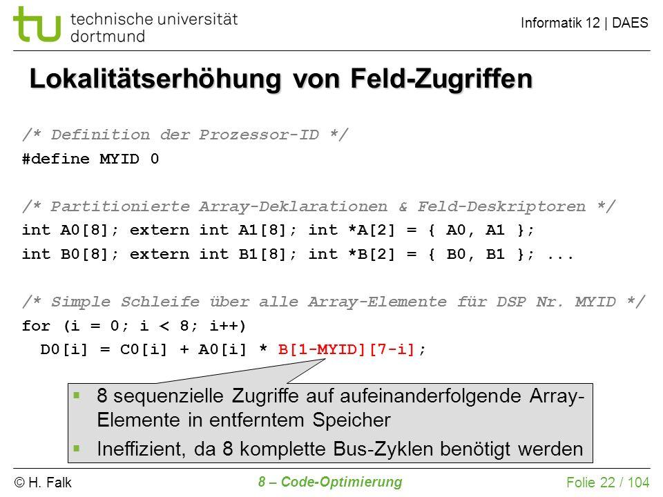 © H. Falk Informatik 12 | DAES 8 – Code-Optimierung Folie 22 / 104 Lokalitätserhöhung von Feld-Zugriffen /* Definition der Prozessor-ID */ #define MYI