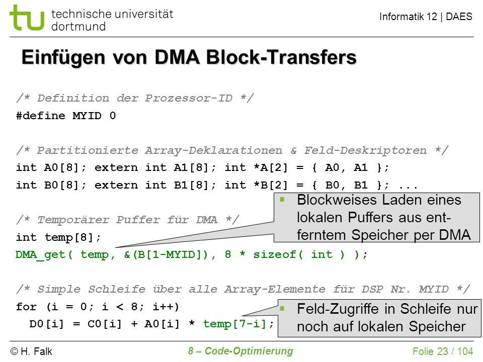 © H. Falk Informatik 12 | DAES 8 – Code-Optimierung Folie 23 / 104 Einfügen von DMA Block-Transfers /* Definition der Prozessor-ID */ #define MYID 0 /