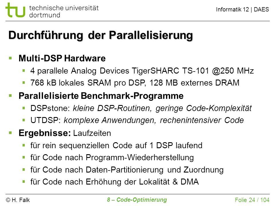 © H. Falk Informatik 12 | DAES 8 – Code-Optimierung Folie 24 / 104 Durchführung der Parallelisierung Multi-DSP Hardware 4 parallele Analog Devices Tig