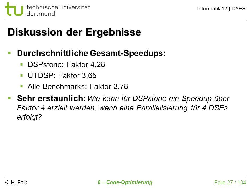 © H. Falk Informatik 12 | DAES 8 – Code-Optimierung Folie 27 / 104 Diskussion der Ergebnisse Durchschnittliche Gesamt-Speedups: DSPstone: Faktor 4,28