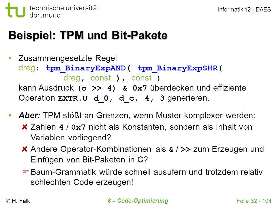© H. Falk Informatik 12 | DAES 8 – Code-Optimierung Folie 32 / 104 Zusammengesetzte Regel dreg : tpm_BinaryExpAND( tpm_BinaryExpSHR( dreg, const ), co