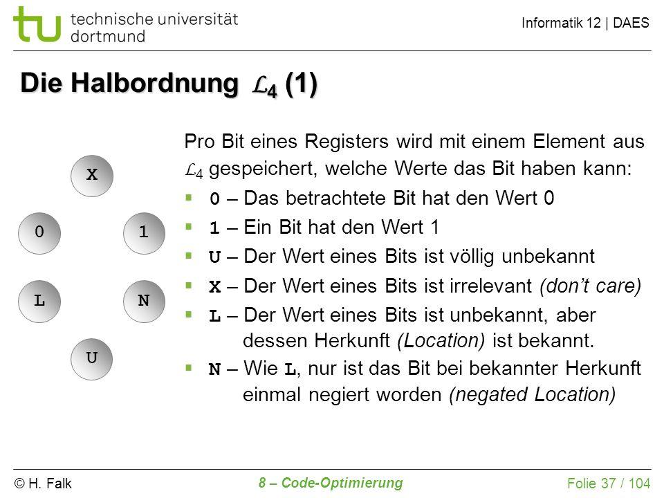 © H. Falk Informatik 12 | DAES 8 – Code-Optimierung Folie 37 / 104 Die Halbordnung L 4 (1) LNUX01 Pro Bit eines Registers wird mit einem Element aus L