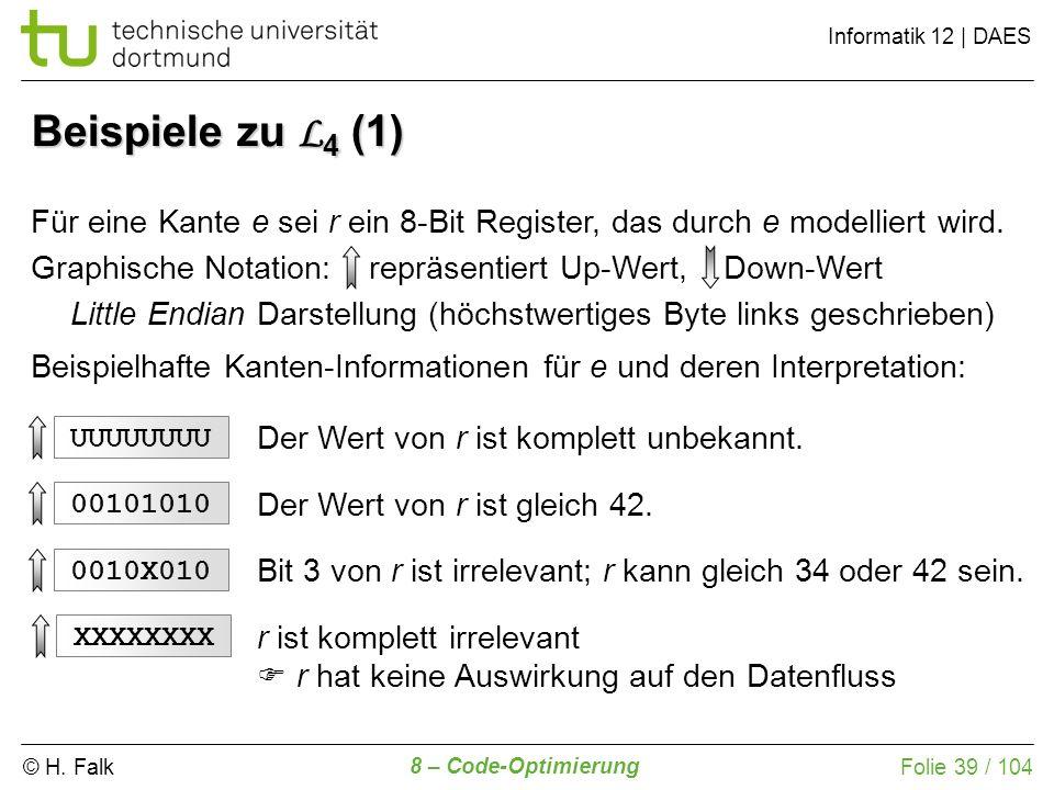 © H. Falk Informatik 12 | DAES 8 – Code-Optimierung Folie 39 / 104 Für eine Kante e sei r ein 8-Bit Register, das durch e modelliert wird. Graphische