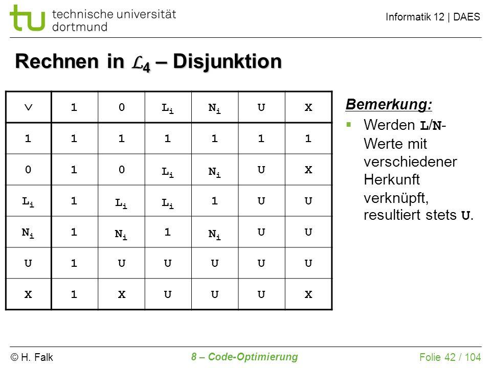 © H. Falk Informatik 12 | DAES 8 – Code-Optimierung Folie 42 / 104 Rechnen in L 4 – Disjunktion 10LiLi NiNi UX 1111111 010 LiLi NiNi UX LiLi 1 LiLi Li