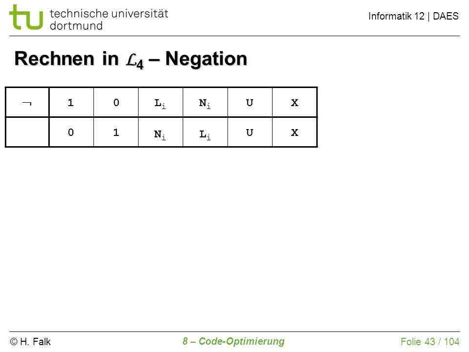 © H. Falk Informatik 12 | DAES 8 – Code-Optimierung Folie 43 / 104 Rechnen in L 4 – Negation 10LiLi NiNi UX 01 NiNi LiLi UX