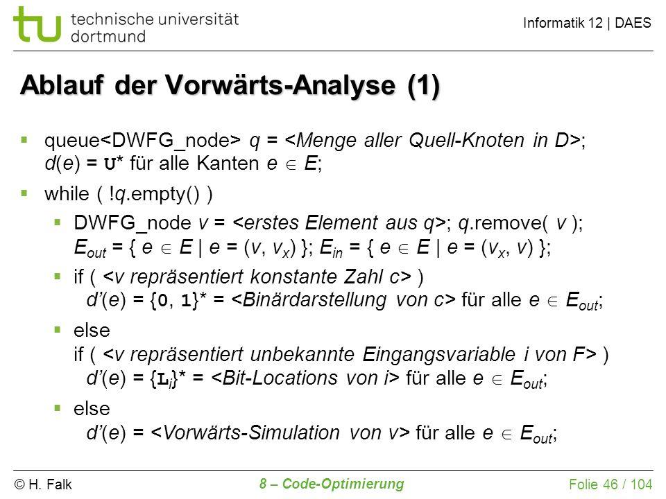 © H. Falk Informatik 12 | DAES 8 – Code-Optimierung Folie 46 / 104 queue q = ; d(e) = U * für alle Kanten e E; while ( !q.empty() ) DWFG_node v = ; q.