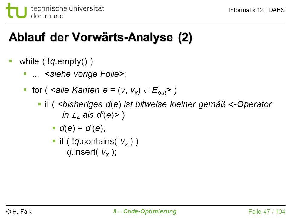 © H. Falk Informatik 12 | DAES 8 – Code-Optimierung Folie 47 / 104 while ( !q.empty() )... ; for ( ) if ( ) d(e) = d(e); if ( !q.contains( v x ) ) q.i