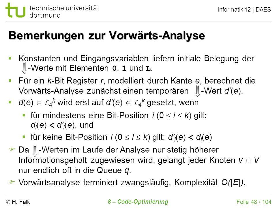 © H. Falk Informatik 12 | DAES 8 – Code-Optimierung Folie 48 / 104 Konstanten und Eingangsvariablen liefern initiale Belegung der -Werte mit Elementen