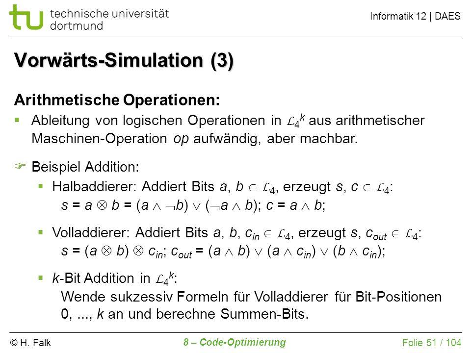 © H. Falk Informatik 12 | DAES 8 – Code-Optimierung Folie 51 / 104 Arithmetische Operationen: Ableitung von logischen Operationen in L 4 k aus arithme