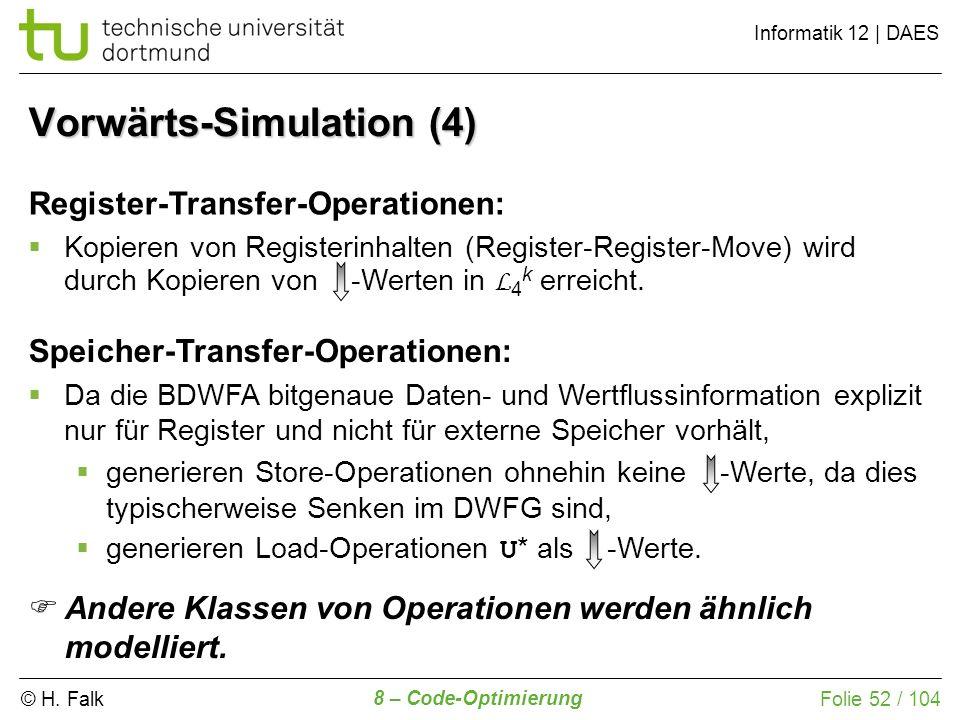 © H. Falk Informatik 12 | DAES 8 – Code-Optimierung Folie 52 / 104 Register-Transfer-Operationen: Kopieren von Registerinhalten (Register-Register-Mov