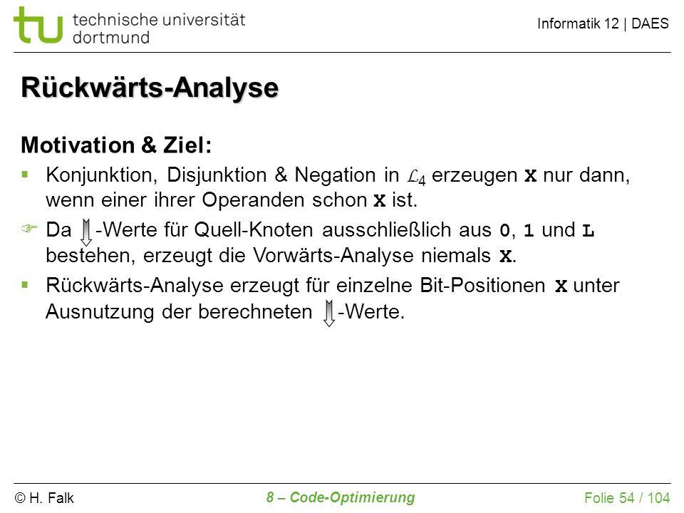 © H. Falk Informatik 12 | DAES 8 – Code-Optimierung Folie 54 / 104 Motivation & Ziel: Konjunktion, Disjunktion & Negation in L 4 erzeugen X nur dann,