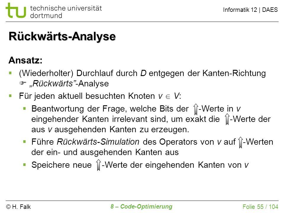 © H. Falk Informatik 12 | DAES 8 – Code-Optimierung Folie 55 / 104 Ansatz: (Wiederholter) Durchlauf durch D entgegen der Kanten-Richtung Rückwärts-Ana