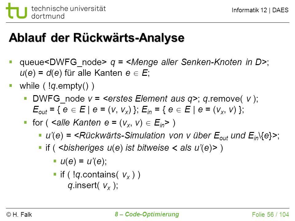 © H. Falk Informatik 12 | DAES 8 – Code-Optimierung Folie 56 / 104 queue q = ; u(e) = d(e) für alle Kanten e E; while ( !q.empty() ) DWFG_node v = ; q