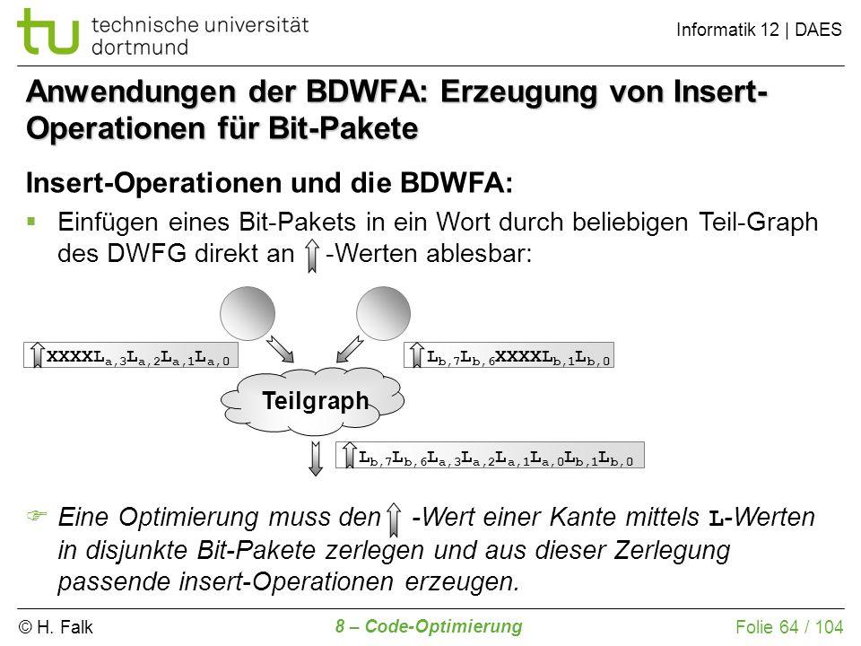 © H. Falk Informatik 12 | DAES 8 – Code-Optimierung Folie 64 / 104 Anwendungen der BDWFA: Erzeugung von Insert- Operationen für Bit-Pakete Insert-Oper