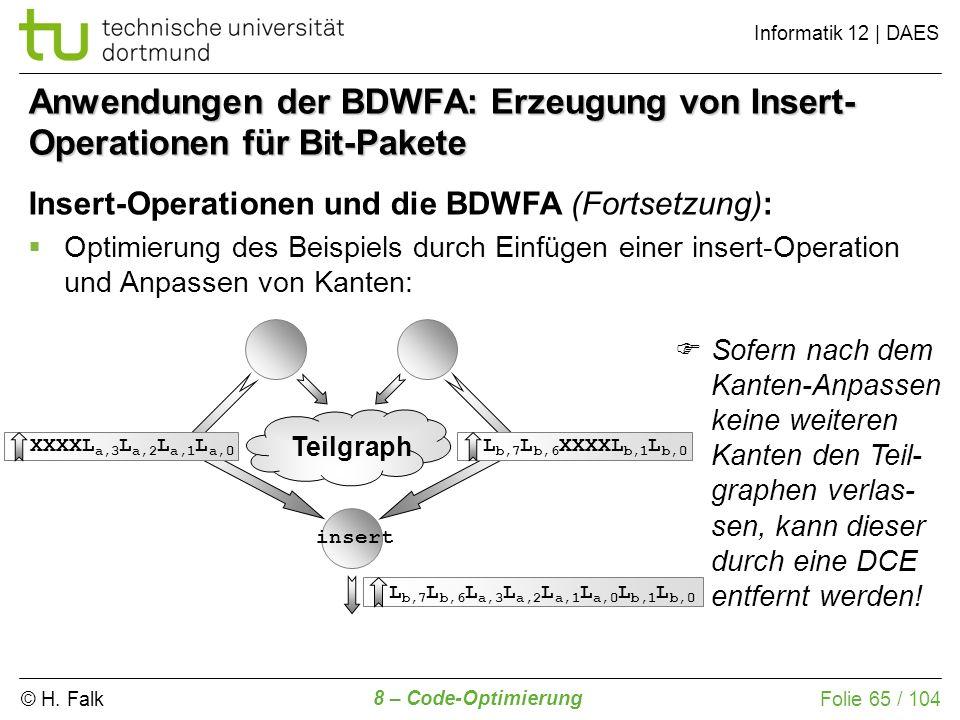 © H. Falk Informatik 12 | DAES 8 – Code-Optimierung Folie 65 / 104 XXXXL a,3 L a,2 L a,1 L a,0 L b,7 L b,6 XXXXL b,1 L b,0 L b,7 L b,6 L a,3 L a,2 L a