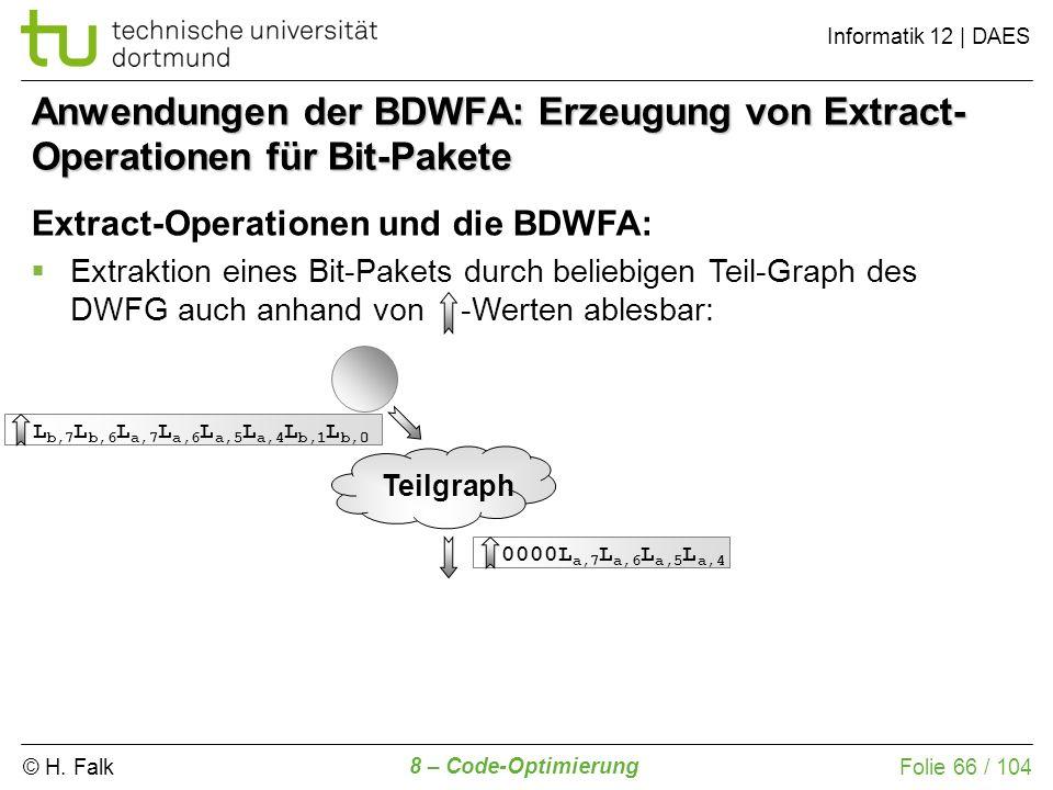 © H. Falk Informatik 12 | DAES 8 – Code-Optimierung Folie 66 / 104 Anwendungen der BDWFA: Erzeugung von Extract- Operationen für Bit-Pakete Extract-Op