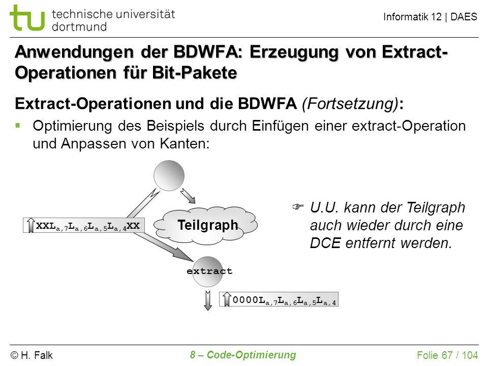 © H. Falk Informatik 12 | DAES 8 – Code-Optimierung Folie 67 / 104 0000L a,7 L a,6 L a,5 L a,4 L b,7 L b,6 L a,7 L a,6 L a,5 L a,4 L b,1 L b,0 Anwendu