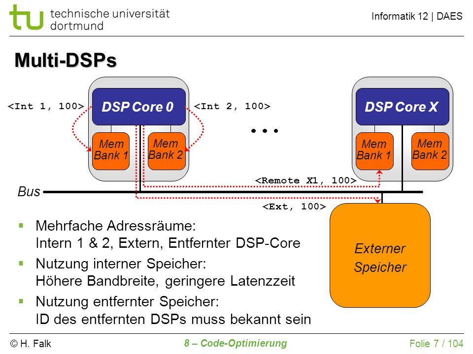 © H. Falk Informatik 12 | DAES 8 – Code-Optimierung Folie 7 / 104 Multi-DSPs DSP Core 0 Mem Bank 1 Mem Bank 2 DSP Core X Mem Bank 1 Mem Bank 2 Externe
