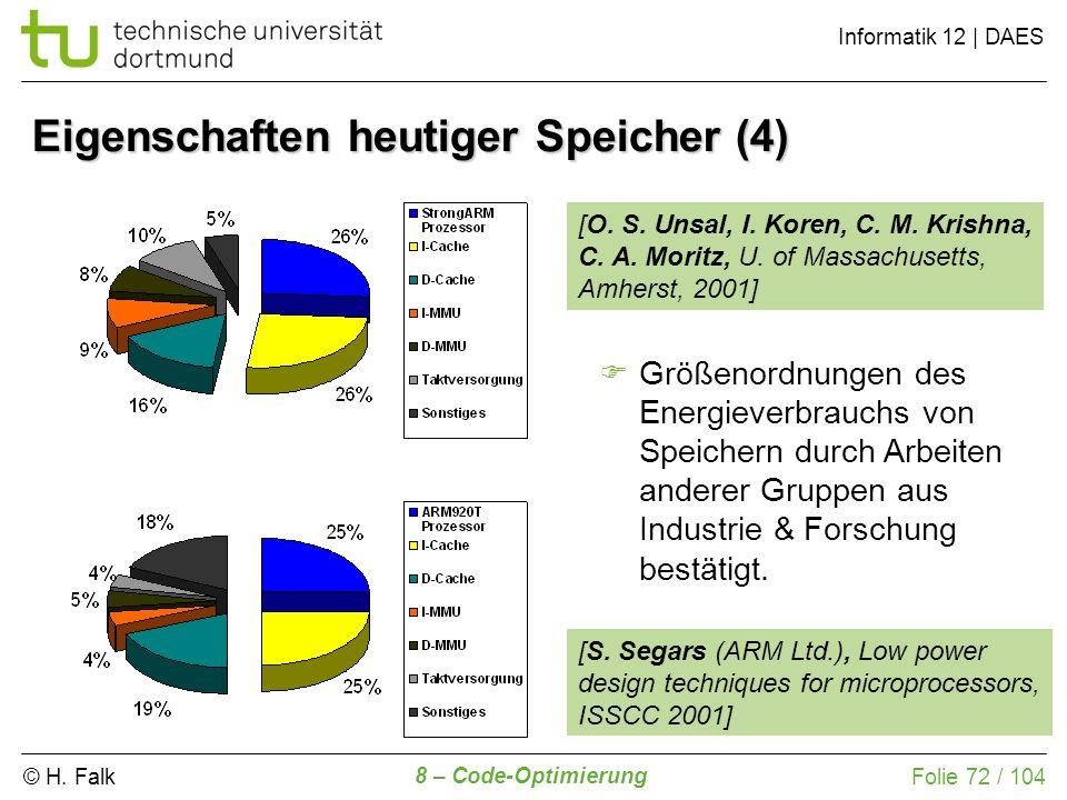 © H. Falk Informatik 12 | DAES 8 – Code-Optimierung Folie 72 / 104 Eigenschaften heutiger Speicher (4) Größenordnungen des Energieverbrauchs von Speic
