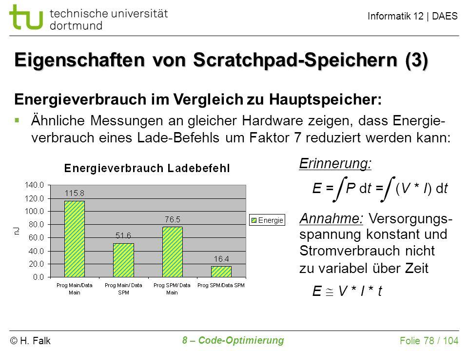 © H. Falk Informatik 12 | DAES 8 – Code-Optimierung Folie 78 / 104 Eigenschaften von Scratchpad-Speichern (3) Energieverbrauch im Vergleich zu Hauptsp