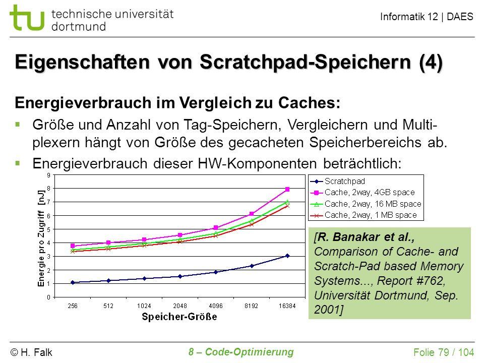 © H. Falk Informatik 12 | DAES 8 – Code-Optimierung Folie 79 / 104 Eigenschaften von Scratchpad-Speichern (4) Energieverbrauch im Vergleich zu Caches: