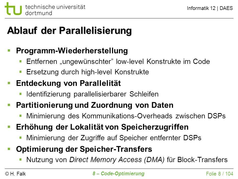 © H. Falk Informatik 12 | DAES 8 – Code-Optimierung Folie 8 / 104 Ablauf der Parallelisierung Programm-Wiederherstellung Entfernen ungewünschter low-l