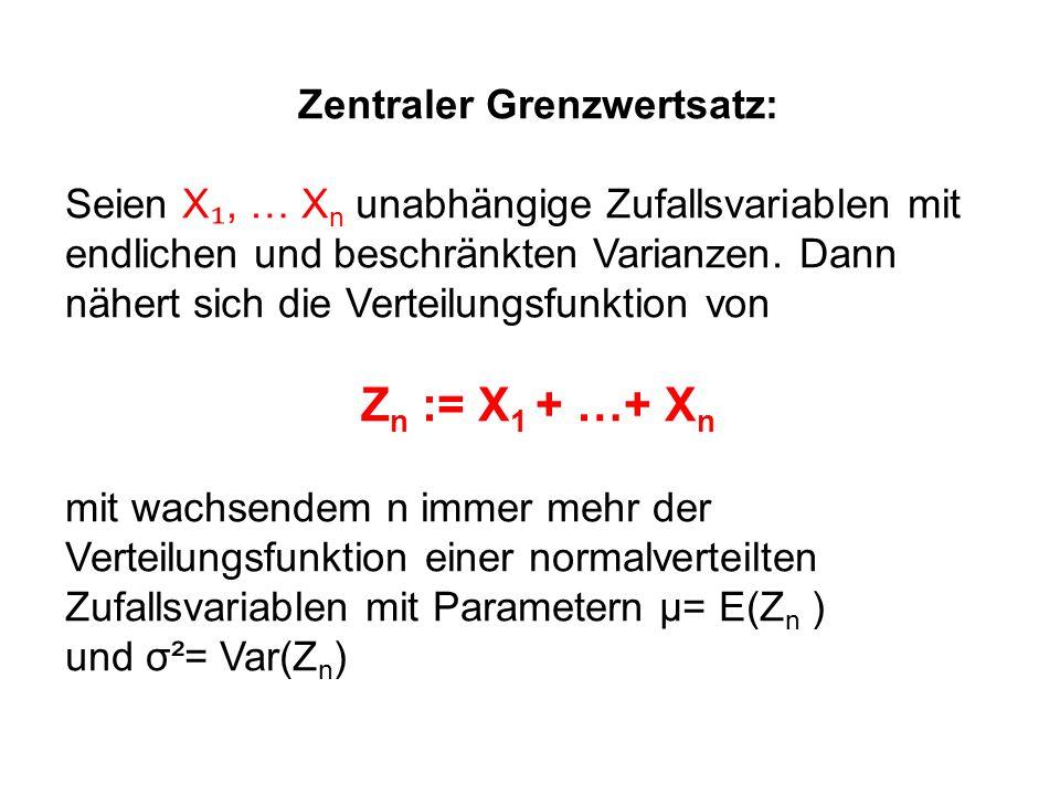 Zentraler Grenzwertsatz: Seien X, … X n unabhängige Zufallsvariablen mit endlichen und beschränkten Varianzen. Dann nähert sich die Verteilungsfunktio