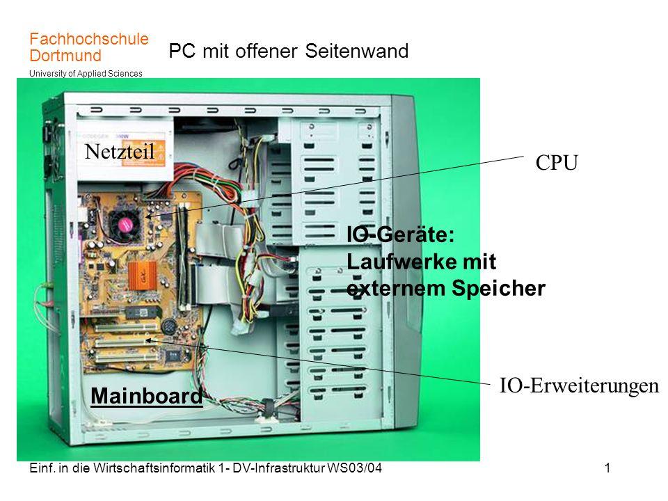 Fachhochschule Dortmund University of Applied Sciences Einf. in die Wirtschaftsinformatik 1- DV-Infrastruktur WS03/041 PC mit offener Seitenwand Netzt