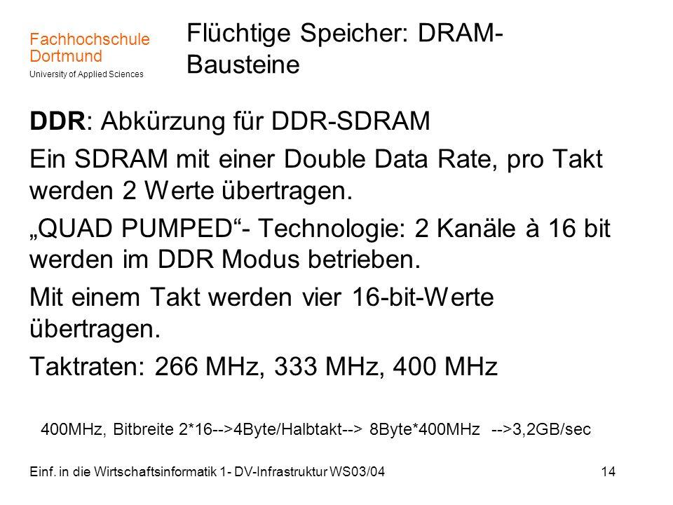 Fachhochschule Dortmund University of Applied Sciences Einf. in die Wirtschaftsinformatik 1- DV-Infrastruktur WS03/0414 Flüchtige Speicher: DRAM- Baus