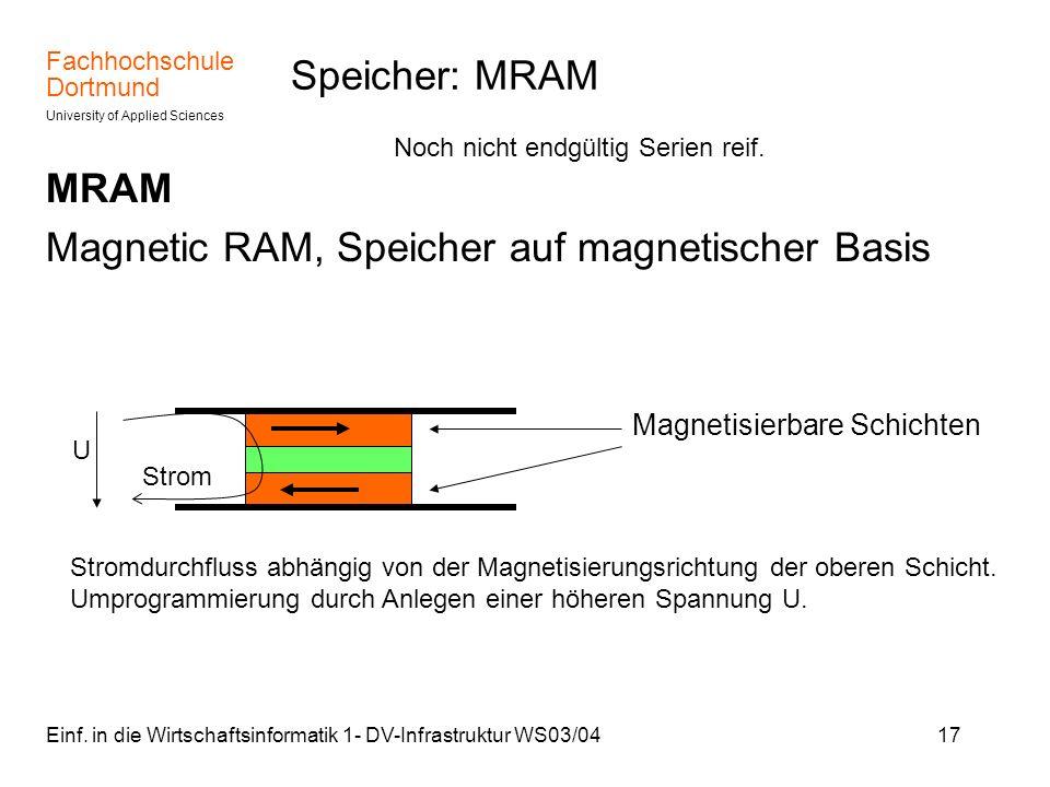 Fachhochschule Dortmund University of Applied Sciences Einf. in die Wirtschaftsinformatik 1- DV-Infrastruktur WS03/0417 Speicher: MRAM MRAM Magnetic R