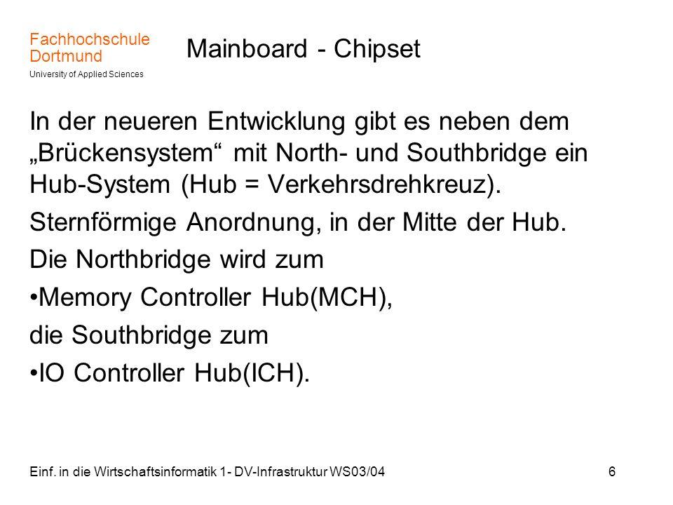 Fachhochschule Dortmund University of Applied Sciences Einf. in die Wirtschaftsinformatik 1- DV-Infrastruktur WS03/046 Mainboard - Chipset In der neue