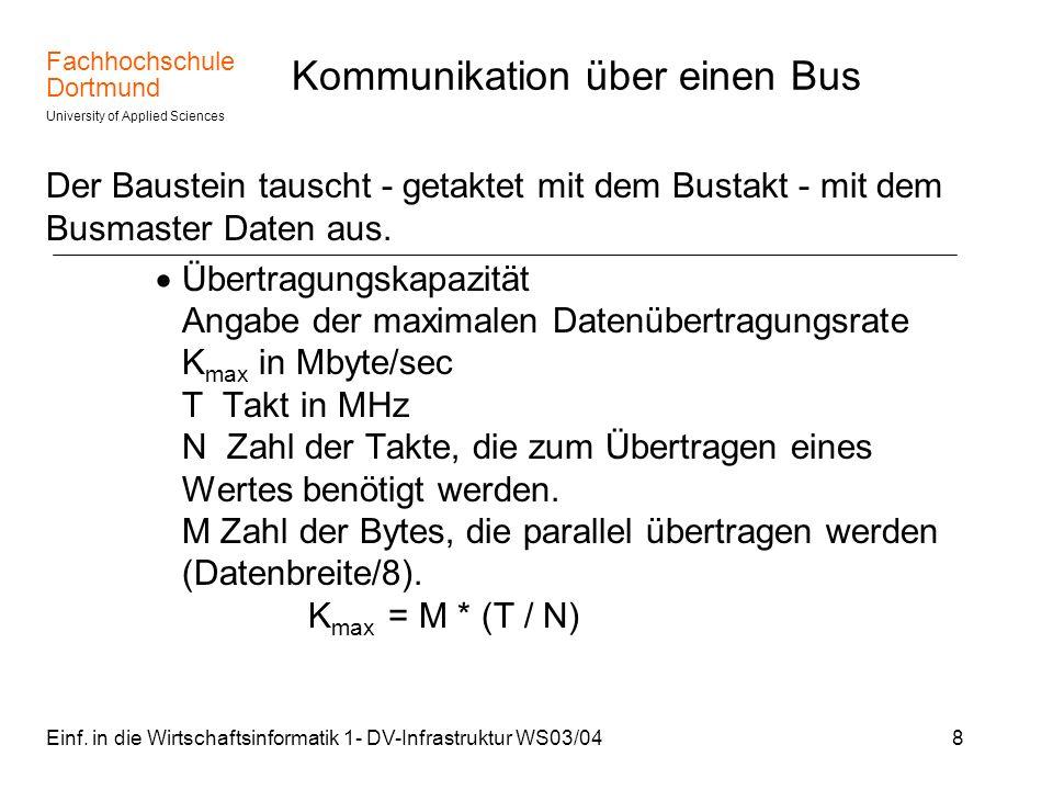 Fachhochschule Dortmund University of Applied Sciences Einf. in die Wirtschaftsinformatik 1- DV-Infrastruktur WS03/048 Kommunikation über einen Bus De