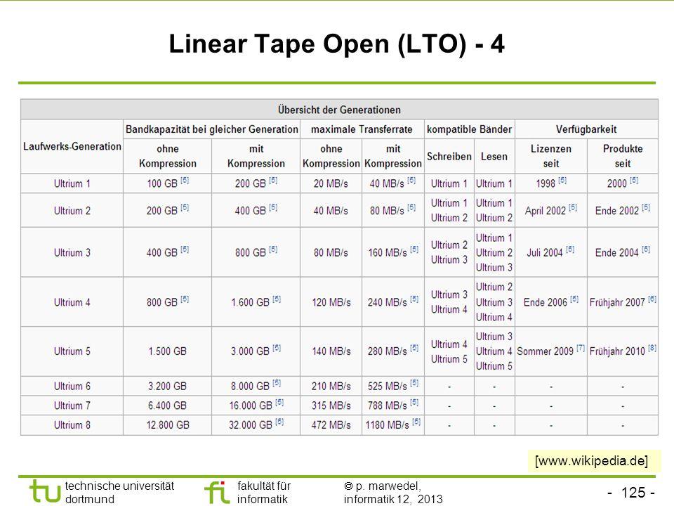 - 124 - technische universität dortmund fakultät für informatik p. marwedel, informatik 12, 2013 Linear Tape Open (LTO) - 4 [www.wikipedia.de]