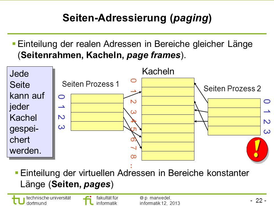 - 21 - technische universität dortmund fakultät für informatik p. marwedel, informatik 12, 2013 Beurteilung Nachteile: Sehr starke externe Fragmentier