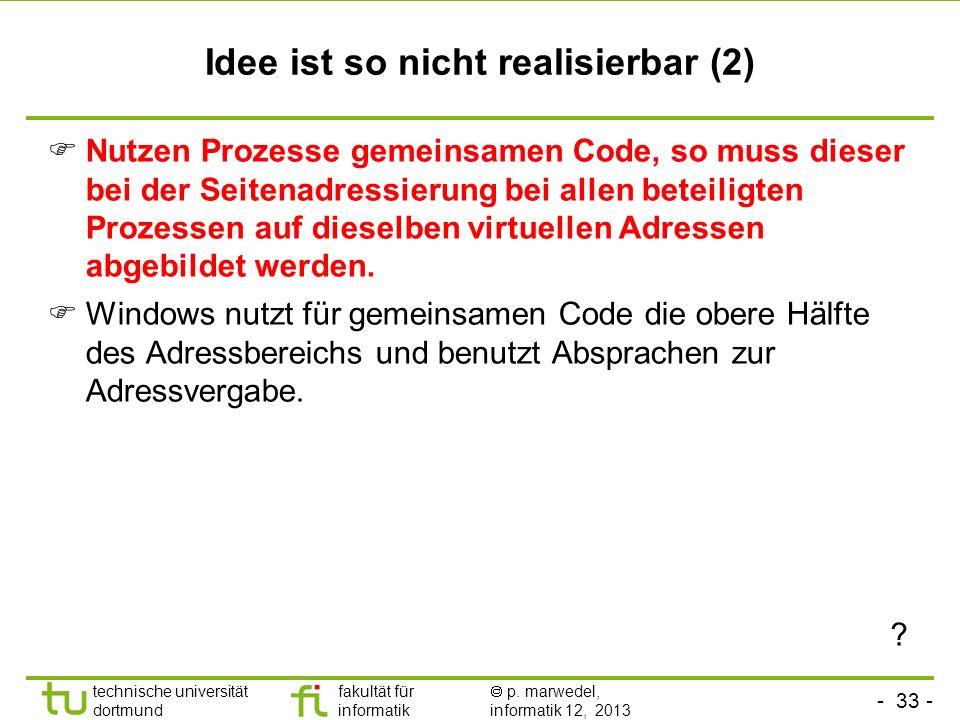 - 32 - technische universität dortmund fakultät für informatik p. marwedel, informatik 12, 2013 Idee ist so nicht realisierbar Im gemeinsam genutzten