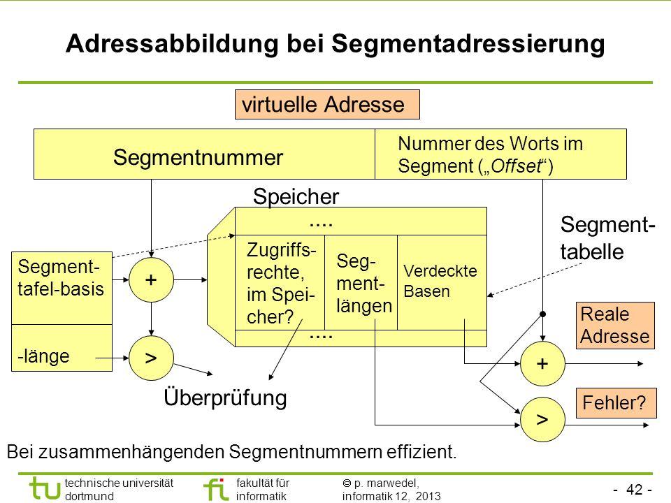 - 41 - technische universität dortmund fakultät für informatik p. marwedel, informatik 12, 2013 Eigenschaften der Segmentadressierung (2) Segmente kön