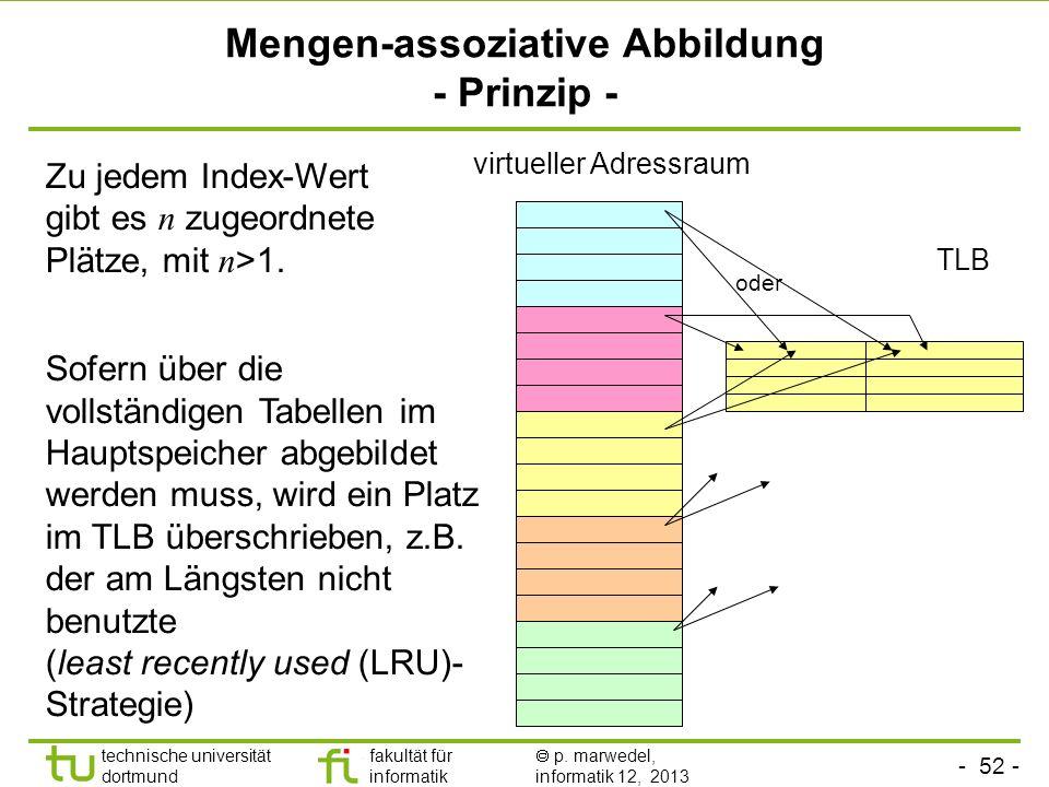 - 51 - technische universität dortmund fakultät für informatik p. marwedel, informatik 12, 2013 Aliasing bei direct mapping TLB virtueller Adressraum