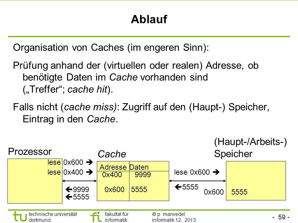 - 58 - technische universität dortmund fakultät für informatik p. marwedel, informatik 12, 2013 2.4.4 Caches Cache = Speicher, der vor einen größeren,