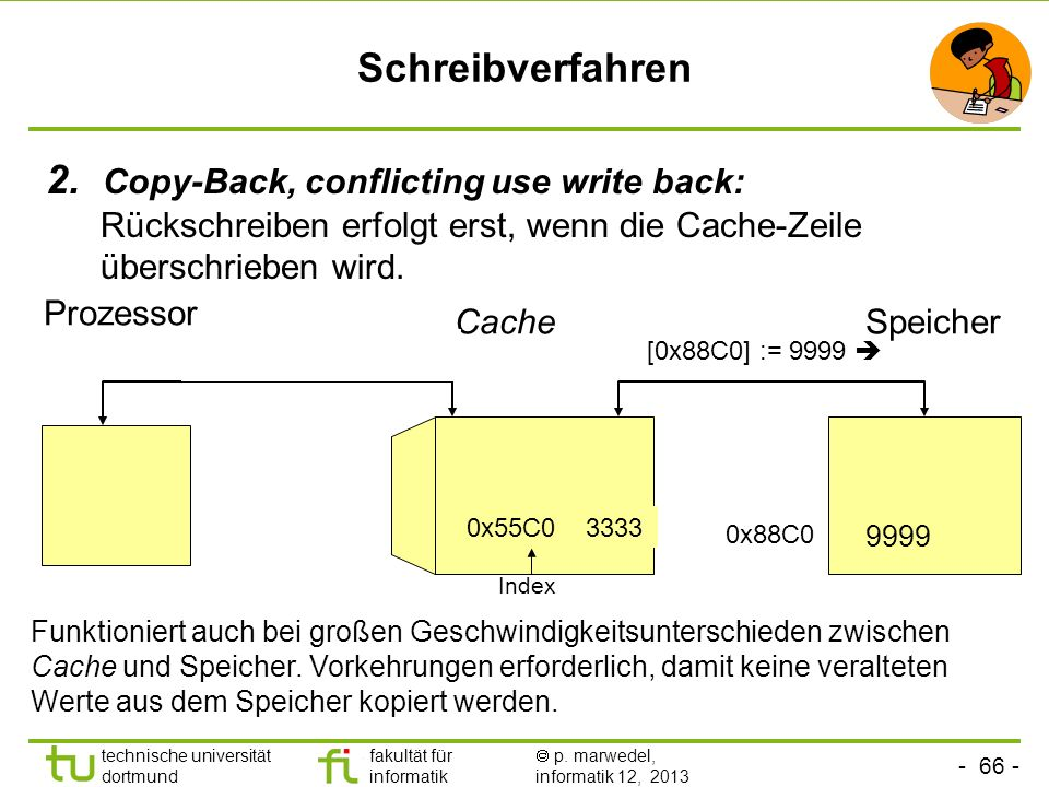 - 65 - technische universität dortmund fakultät für informatik p. marwedel, informatik 12, 2013 Schreibverfahren Strategien zum Rückschreiben Cache ->