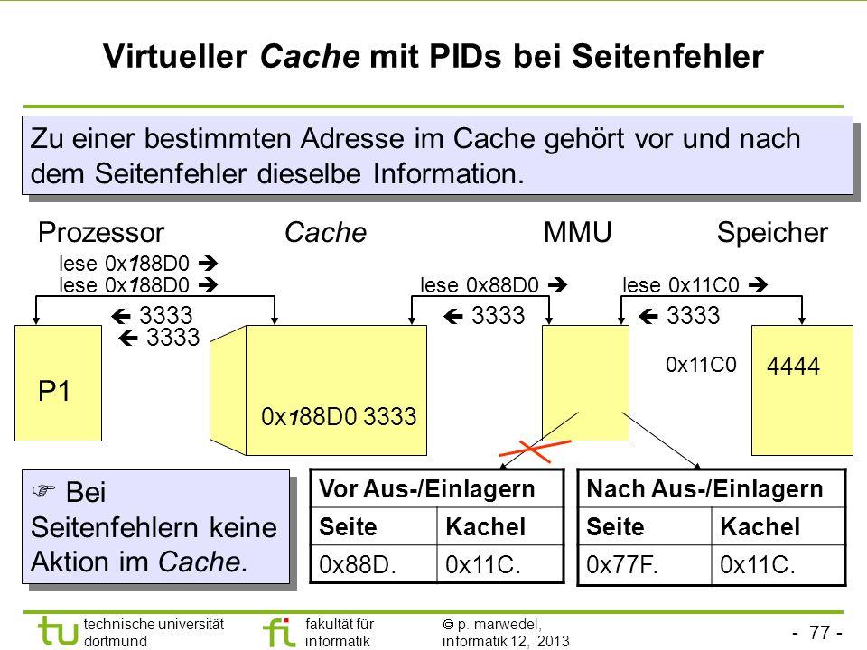 - 76 - technische universität dortmund fakultät für informatik p. marwedel, informatik 12, 2013 Virtueller Cache mit PIDs bei Prozesswechsel (context