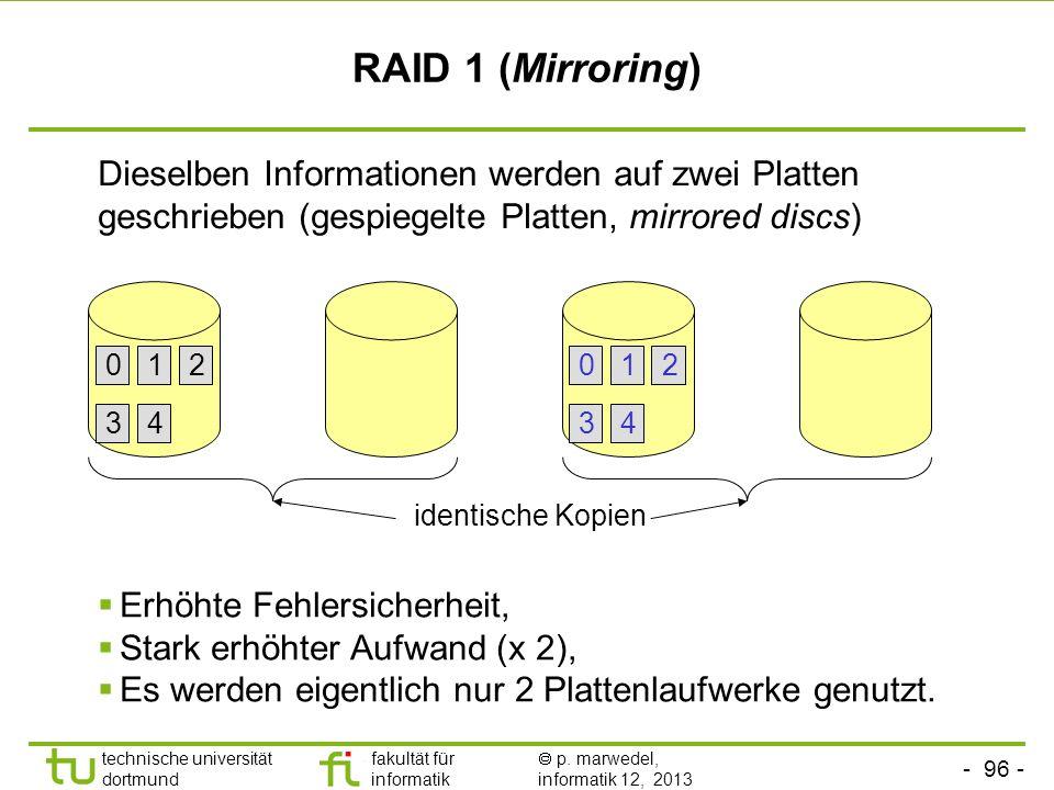 - 95 - technische universität dortmund fakultät für informatik p. marwedel, informatik 12, 2013 RAID 0 (Striping) Dateien werden unterteilt in so gena
