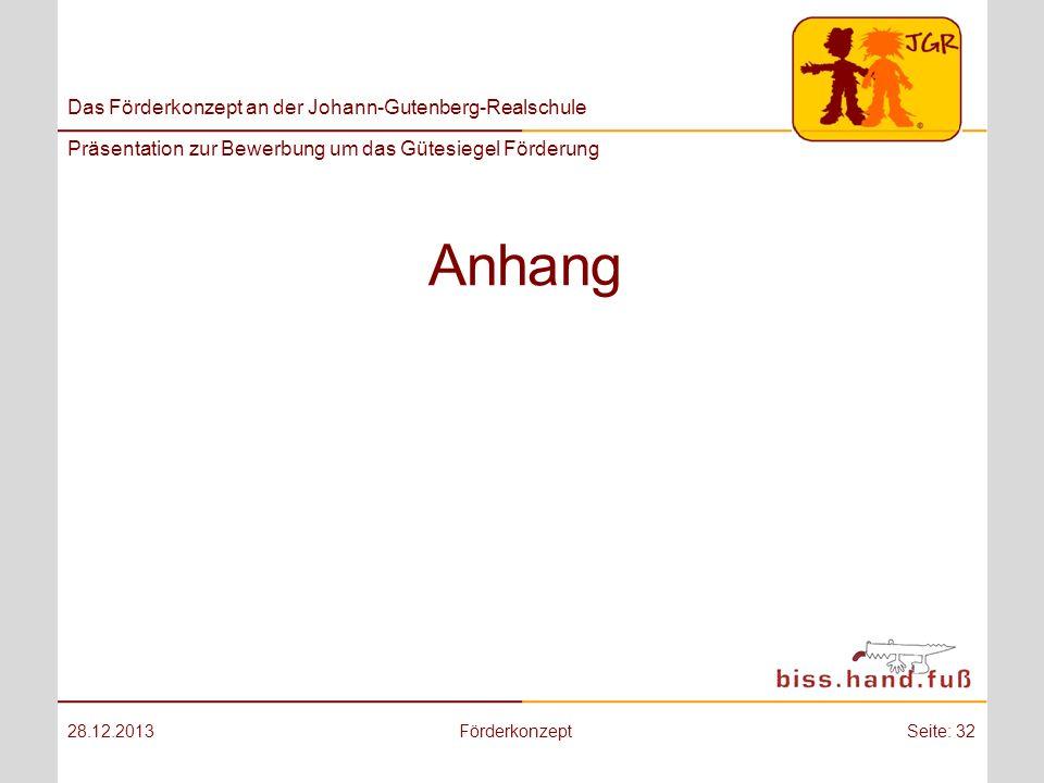 Das Förderkonzept an der Johann-Gutenberg-Realschule Präsentation zur Bewerbung um das Gütesiegel Förderung Anhang 28.12.2013FörderkonzeptSeite: 32