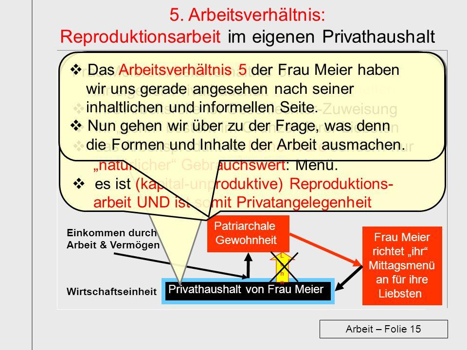 Privathaushalt von Frau Meier Wirtschaftseinheit Einkommen durch Arbeit & Vermögen Patriarchale Gewohnheit 5. Arbeitsverhältnis: Reproduktionsarbeit i