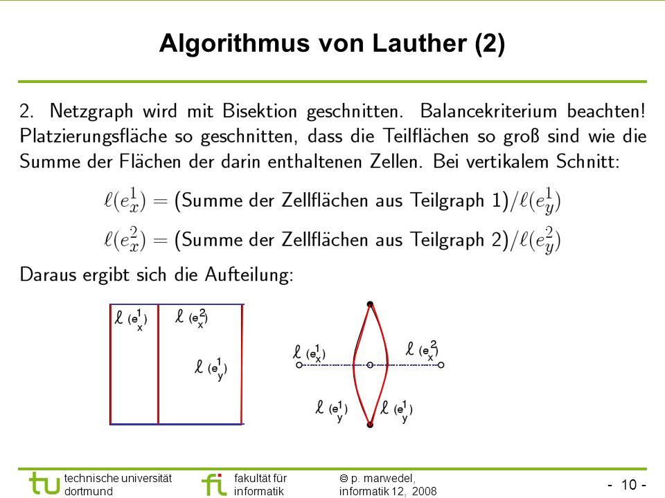 - 10 - technische universität dortmund fakultät für informatik p. marwedel, informatik 12, 2008 TU Dortmund Algorithmus von Lauther (2)