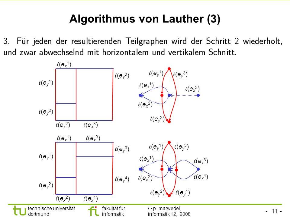 - 11 - technische universität dortmund fakultät für informatik p. marwedel, informatik 12, 2008 TU Dortmund Algorithmus von Lauther (3) (e x 1 ) (e x